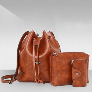 Three Pieces Brown String Bucket Handbags Set