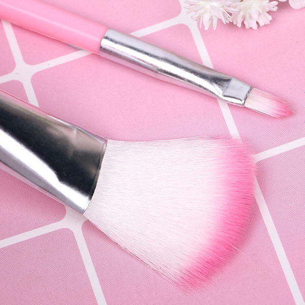 Five Pieces High Quality Makeup Brushes Set - Pink