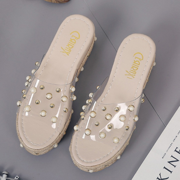 Pearl Decorated Khaki Medium Sole Sandals