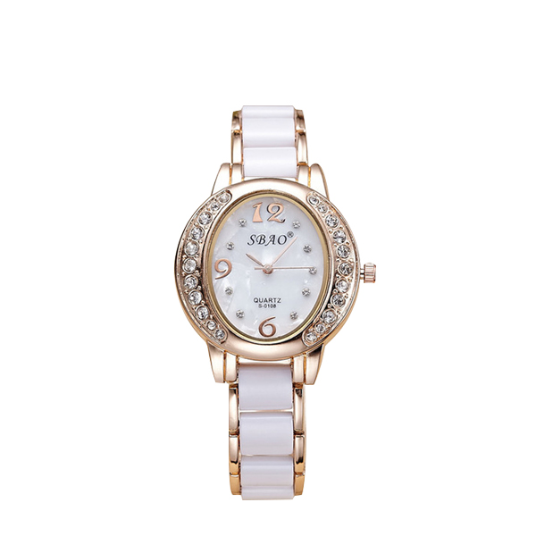 White Contrast Crystal Bracelet Analogue Watch