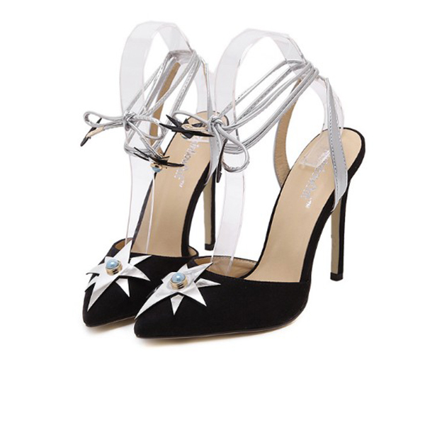Summer High Heel Wild Sexy Shoes Thin Straps Lady Sandals Black