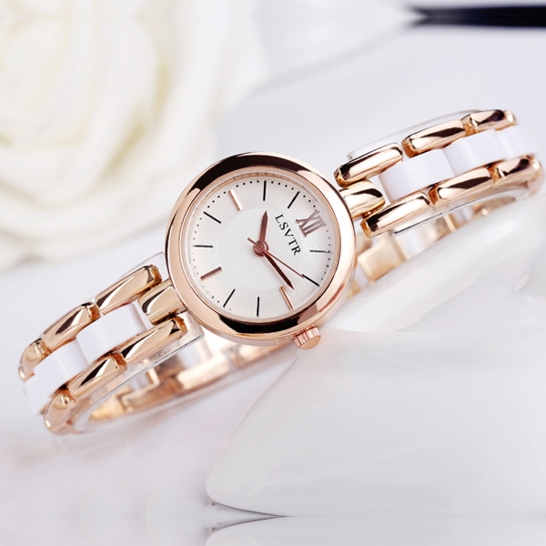 White Golden Stainless Steel Analogue Watch