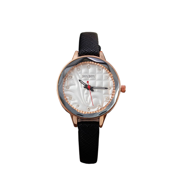 Fashionable And Casual Girls Leather Strap Wrist Watch Black