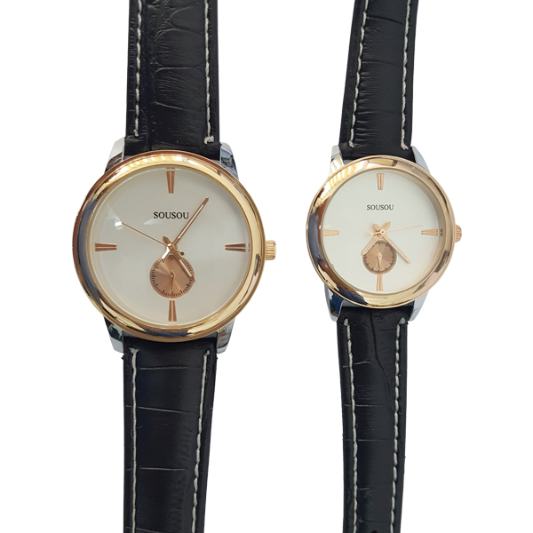 Two Wrist Watches For Couples Men Women White Dial Black Band