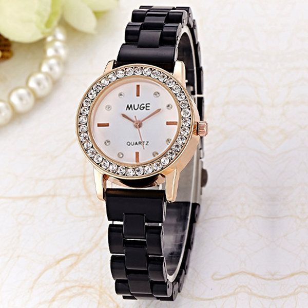 Crystal Black Dial Analogue Bracelet Watch