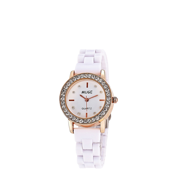 Crystal White Dial Analogue Bracelet Watch