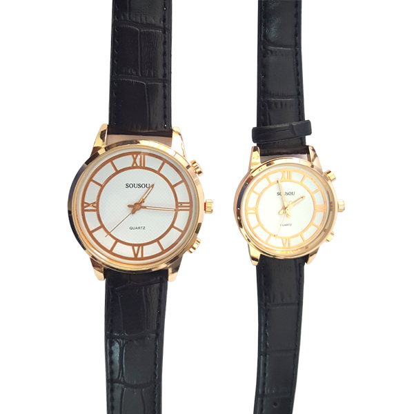 Pretentious Black Leather Strap White Analogue Watch For Couple