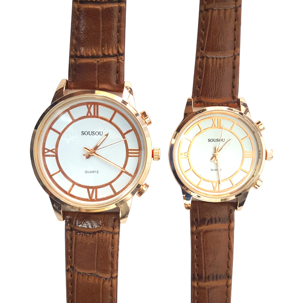 Pretentious Brown Leather Strap Analogue Watch For Couple