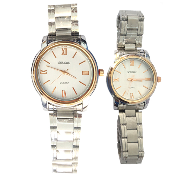 New And Stylish Quartz Stainless Steel Couple Watch Set White