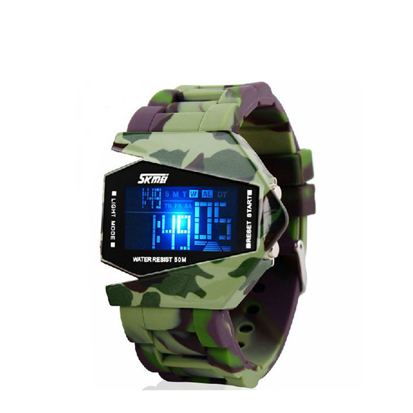 Camouflage Strappy Waterproof LED Wrist Watch