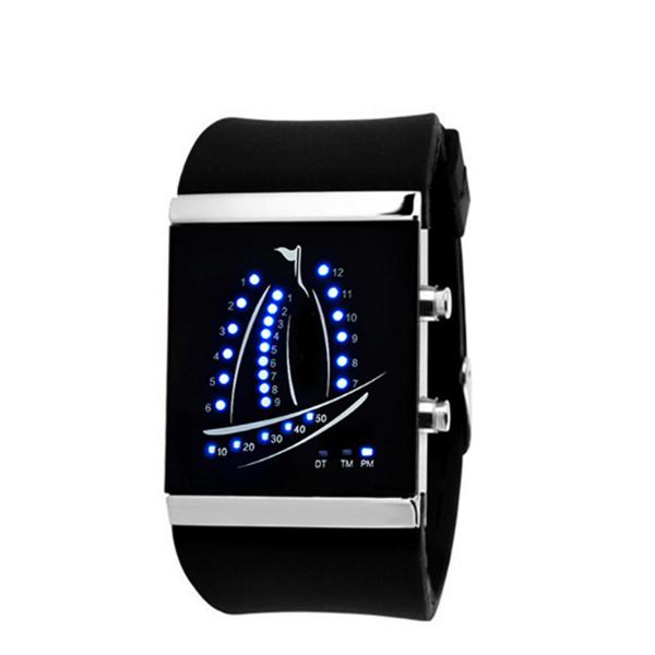 Latest Design LED Plain Sailing Students Couples Watch Black