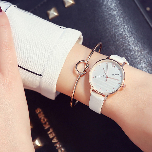 Casual Dual Contrast Leather Band Wrist Watch - White