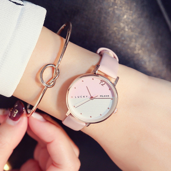 Casual Dual Contrast Leather Band Wrist Watch - Pink