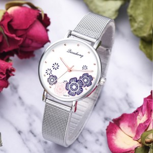 Cute Floral Dial Stainless Steel Wrist Watch - Purple