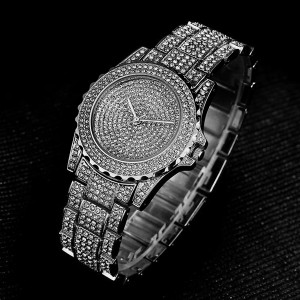 Crystals Decorative Wedding Analogue Watch - Silver