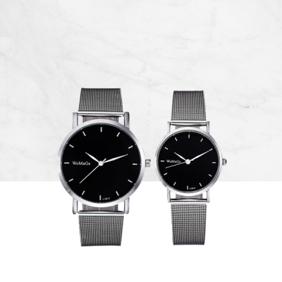 Silver Mesh Strap Black Dial Analogue Couple Watch