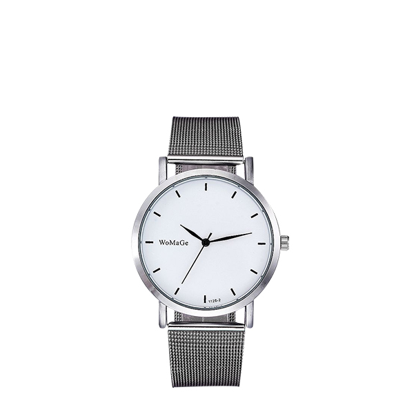Silver Mesh Strap White Dial Analogue Watch