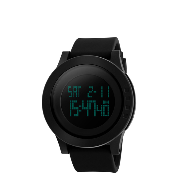 Simple Silicon Black Strappy Digital LED Watch