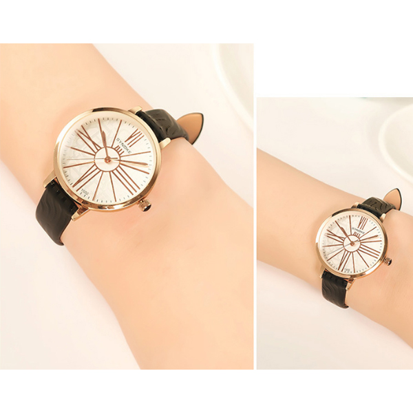 Printed Pink Belt Golden Special Analogue Watch