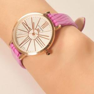 Printed Pink Belt Golden Special Analogue Watch