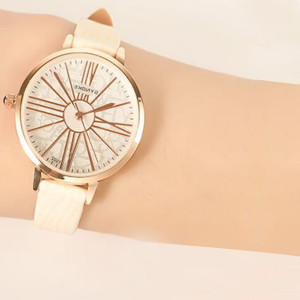 Printed White Belt Golden Special Analogue Watch