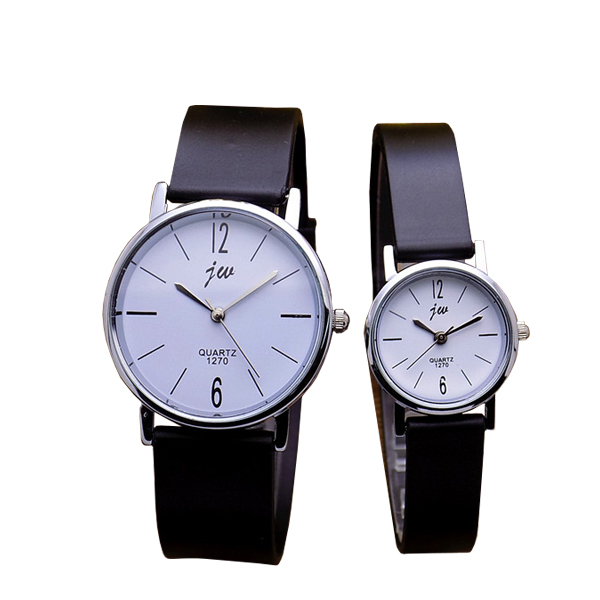Latest Hot Couple Male Female Round Shape Watch White