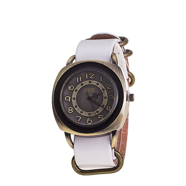 CCQ Wristwatch Cow Leather Vintage Casual Ladies Watch White