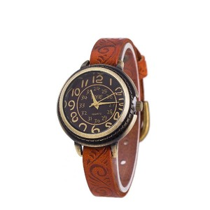 Wristwatch Cow Leather Vintage Women Casual Luxury Watch Brown