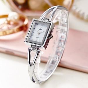 Square Shaped Diamond Silver Wrist Watch