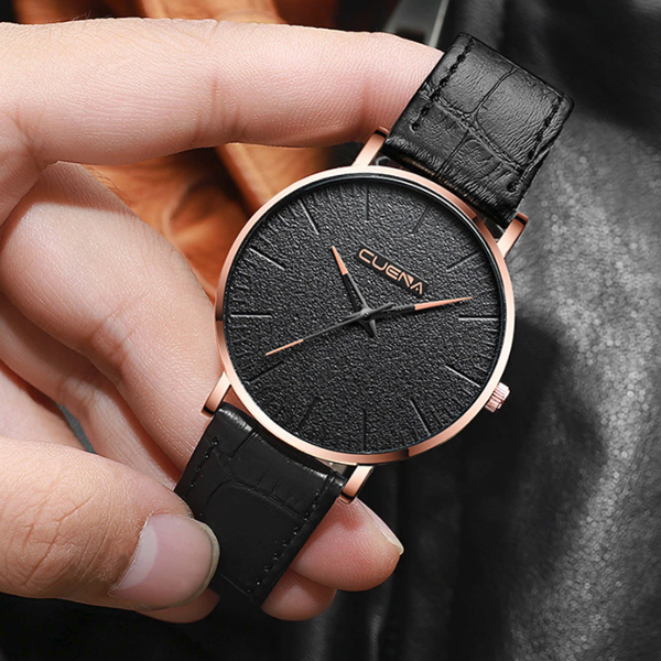 Textured Dial Leather Strap Analogue Wrist Watch - Golden