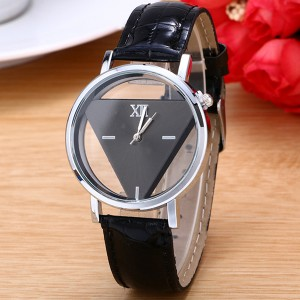 Triangular Dial Modern Analogue Wrist Watch - Black