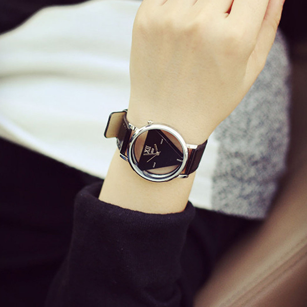 Triangular Dial Modern Black And White Couple Watch