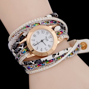 Party Wear Luxury Strap Bracelet Watch - White