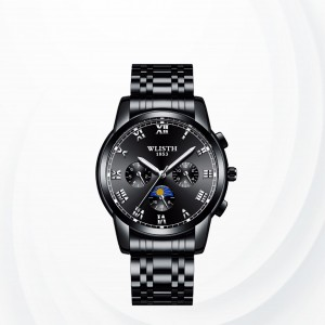 Stainless Steel Sub Dial Sports Wrist Watch - Black