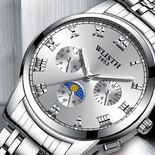 Stainless Steel White Dial Sports Wrist Watch - Silver