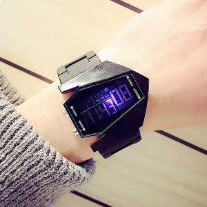 Water Resistant Modern Digital Wrist Watch - Black