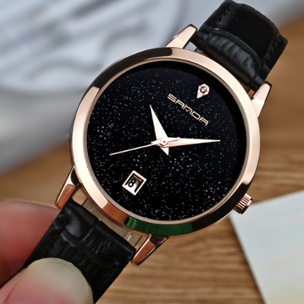 Black Leather Strappy Glitter Wrist Watch