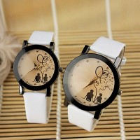 Leather Strap Analogue Couple Pair Watch - White