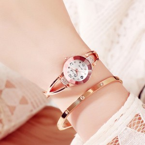 Crystal Decorated Bracelet Analogue Wrist Watch - White