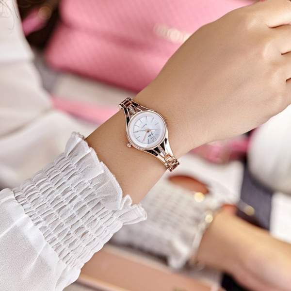 Crystal Patch Gold Plated Women Wrist Watch