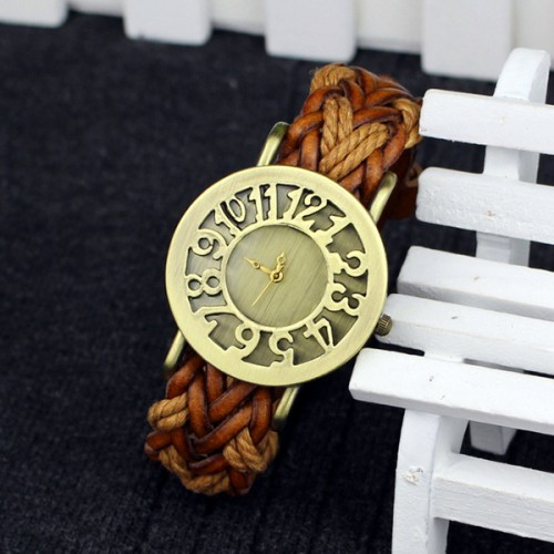 Antique Leather Rope Strap Analogue Wrist Watch