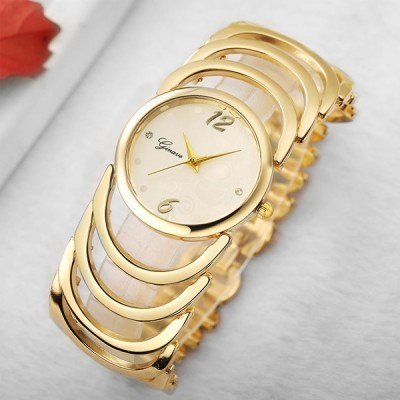 Spiral Strap Gold Plated Wedding Wear Bracelet Watches