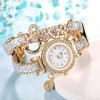 Decorated Belt Sequins Bracelet Wrist Watches - Silver