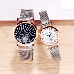 Mesh Strappy Crystal Patched Couple Wrist Watch