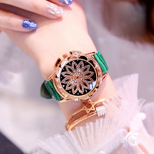Crystal Floral Dial Luxury Party Wear Watch - Green