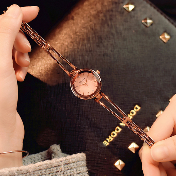 Crystal Engraved Gold Plated Analogue Wrist Watch