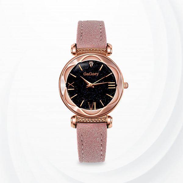 Rose Gold Dial Leather Strap Analogue Wrist Watch - Pink