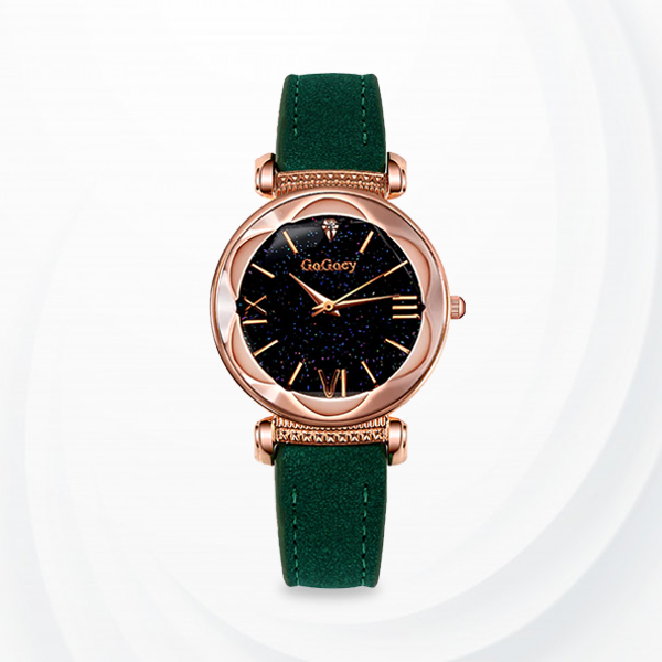 Rose Gold Dial Leather Strap Analogue Wrist Watch - Green