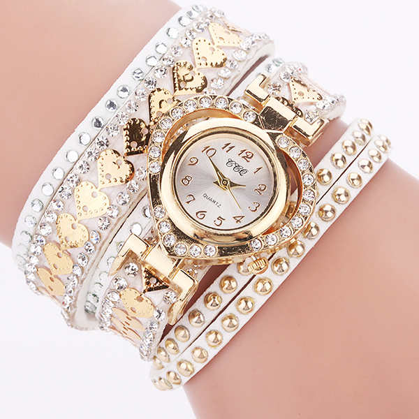 Gold Plated Decorated Multi Layer Wrist Watch - White