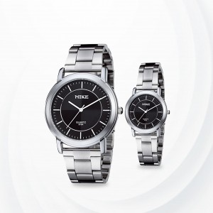 Black Stainless Steel Couple Analogue Wrist Watches